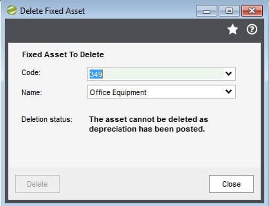 Sicon Fixed Assets Help and User Guide - Delete Fixed Asset