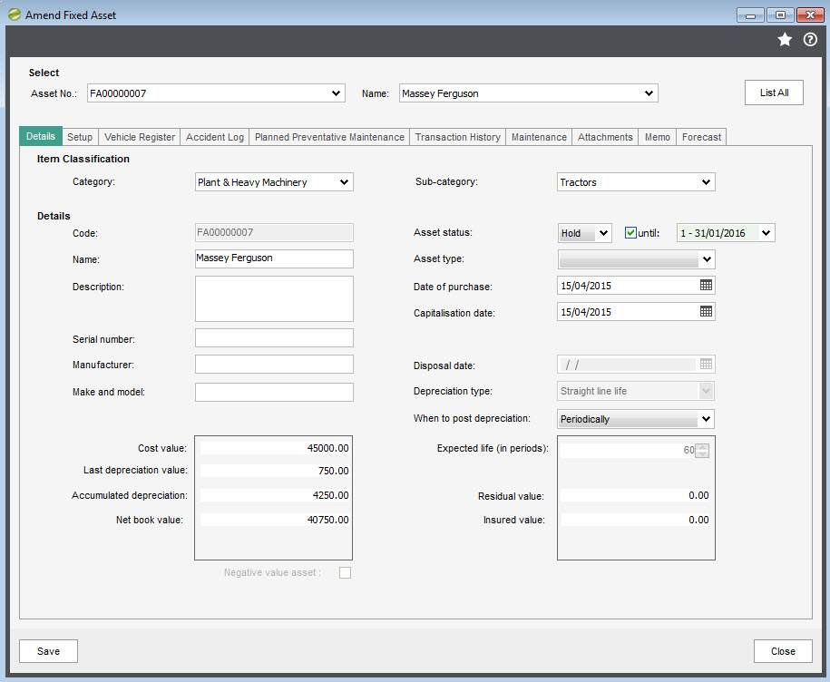 Sicon Fixed Assets for Sage 200 Help and User Guide - Hold an asset