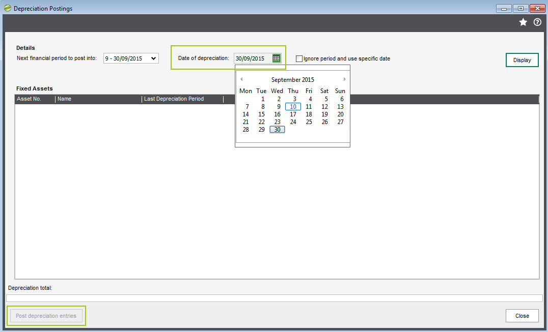 Sicon Fixed Assets Help and User Guide - Period End Routines Post Depreciation