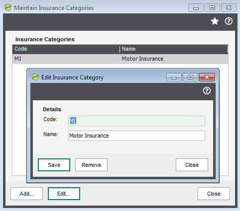 Sicon Fixed Assets - Maintain Insurance Categories