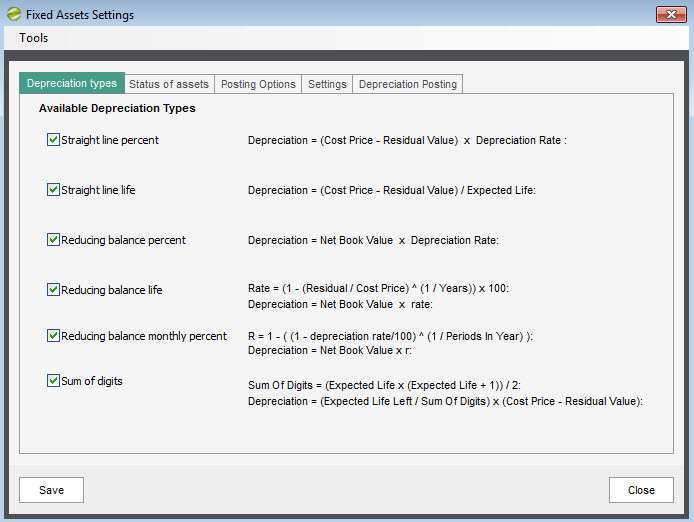 Sicon Fixed Assets - Settings - Depreciation Types