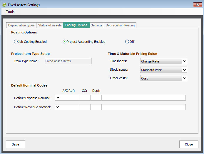 Sicon Fixed Assets - Settings - Posting Options