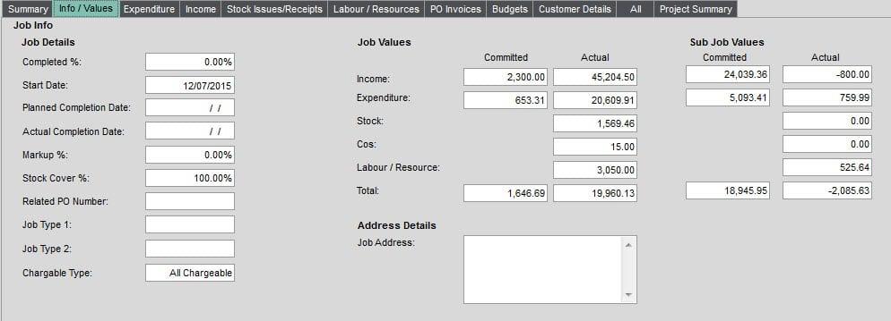 Job Costing Enquiry Info Values tab