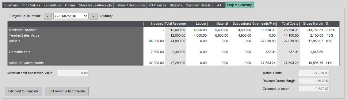 Job Costing Enquiry Project Summary tab