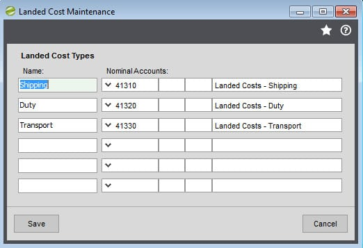 Sicon Distribution Manager Help and User Guide Landed Costs Maintenance