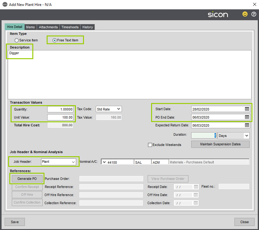 Sicon Job Costing Help and User Guide - MJH screen 2