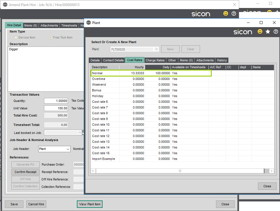 Sicon Job Costing Help and User Guide - MJH screen 7