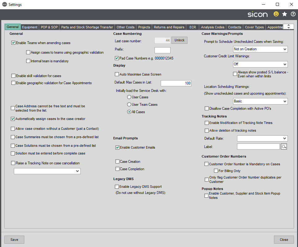 Sicon Service Help and User Guide - New screen shot