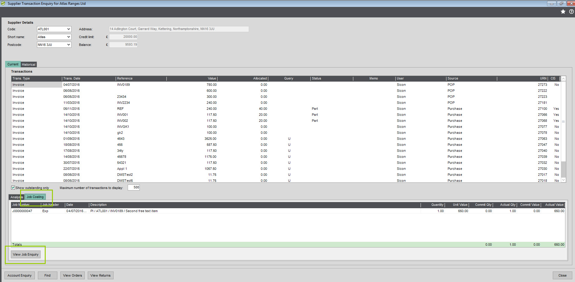Sicon Job Costing Help and User Guide Supplier Transaction Enquiry Screen