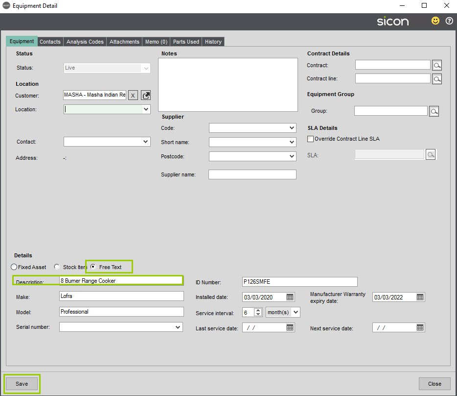Sicon Service Help and User Guide - Reactive screen 6