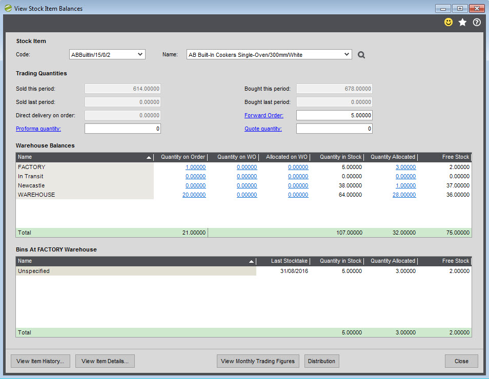 Sicon Distribution Manager Help and User Guide SC View Stock Item Balances