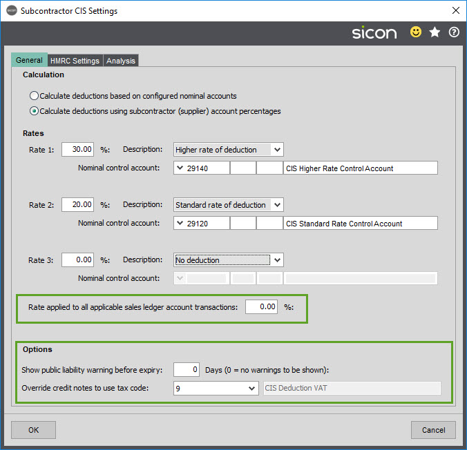 Sicon CIS Help and User Guide - Subcontractor CIS Settings