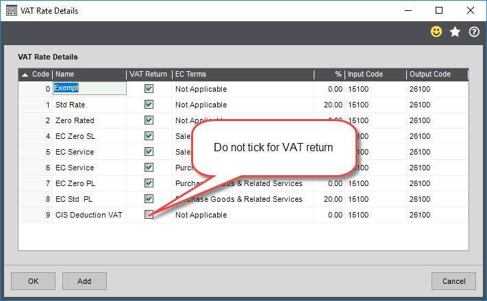 Sicon CIS Help and User Guide - VAT Rate Details