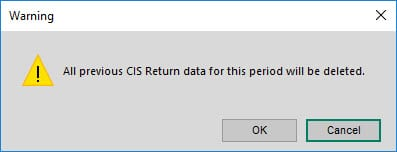 Sicon CIS Help and User Guide - CIS Return warning