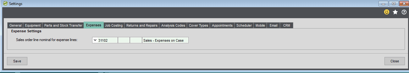 Service Manager Expenses TAB Settings