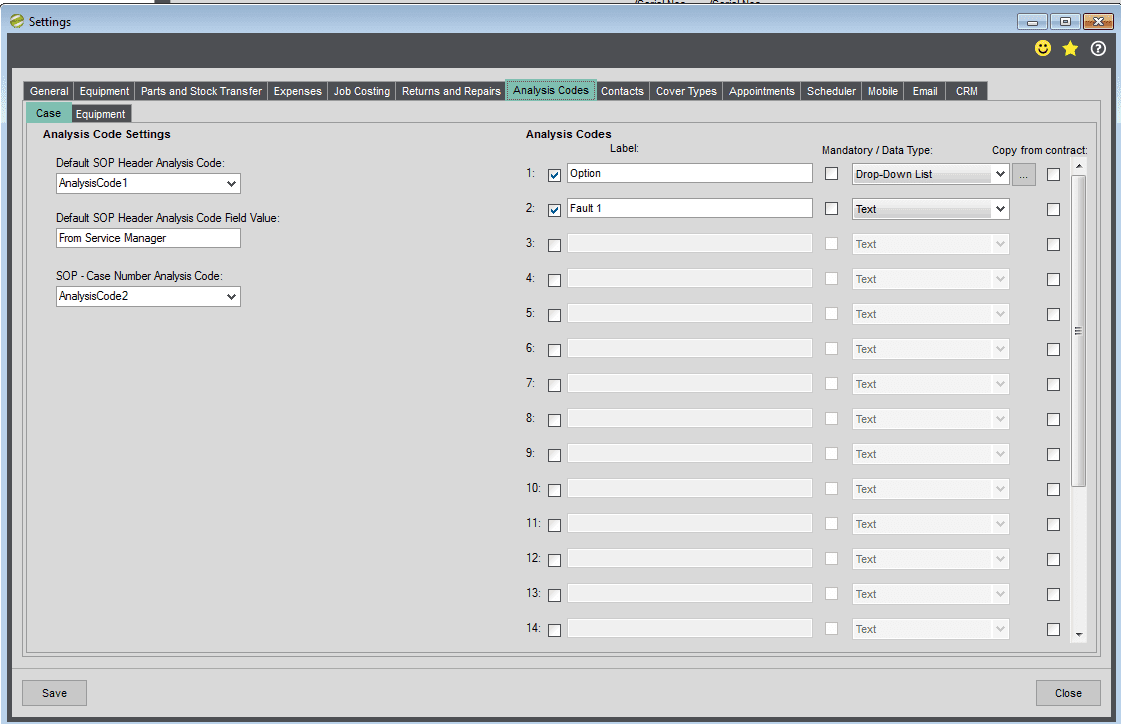 Service Manager Help and User Guide Settings - Analysis Codes