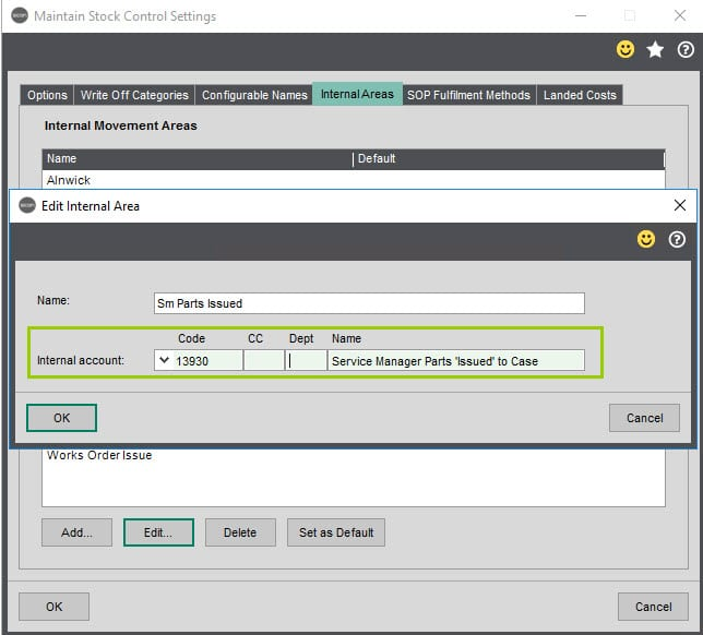 Sicon Service Help and User Guide - Service nominal posting screen 2