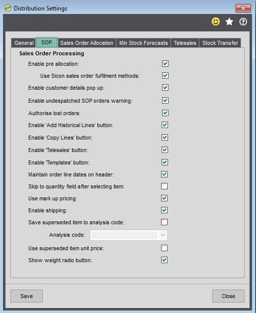 Sicon Distribution Manager Help and User Guide Settings SOP tab