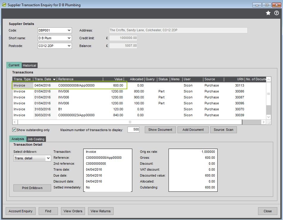 Sicon Construction Manager - Supplier Transaction Screen