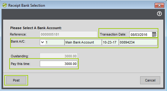 Sicon Cosntruction Manager - Receipt Bank Selection Screen
