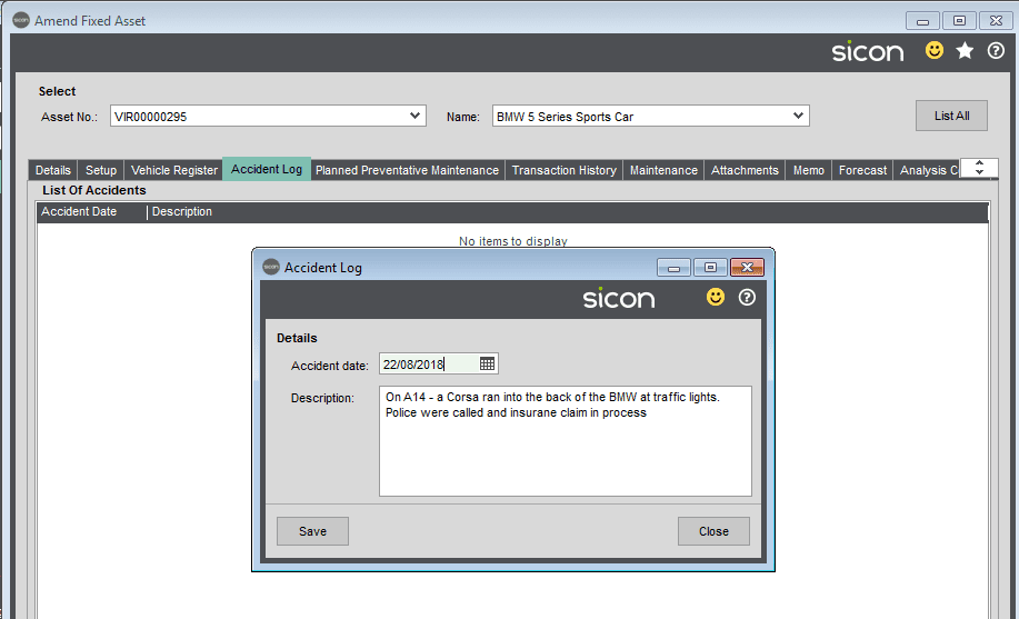 Sicon Fixed Assets Help and User Guide - Accident Log Tab