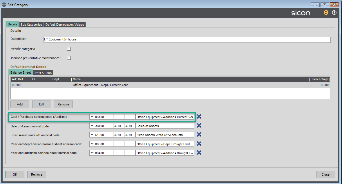 Sicon Fixed Assets Help and User Guide - Adding a New Asset whilst adding a purchase invoice within Sage 200 2