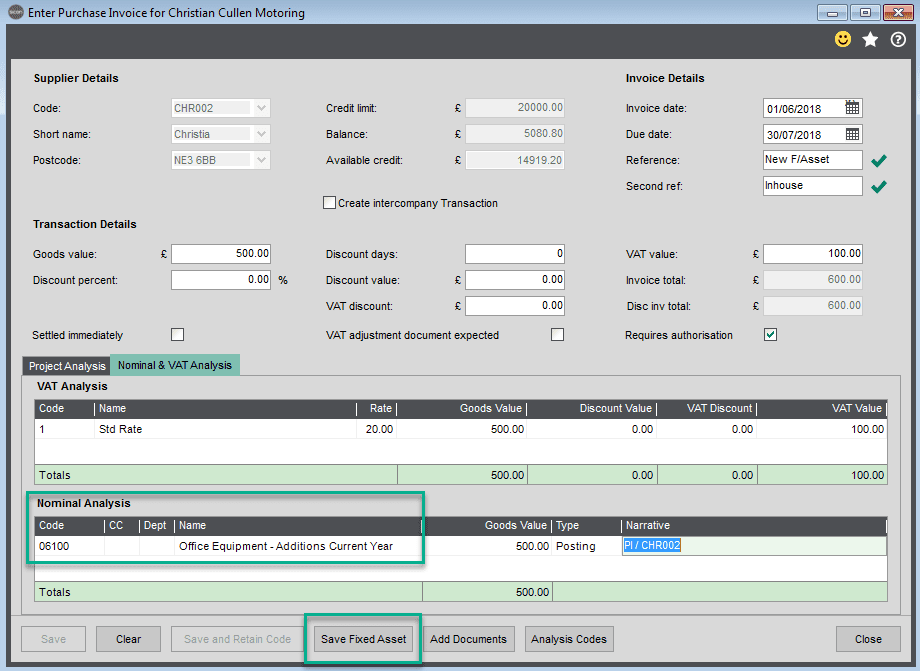 Sicon Fixed Assets Help and User Guide - Adding a New Asset whilst adding a purchase invoice within Sage 200 3