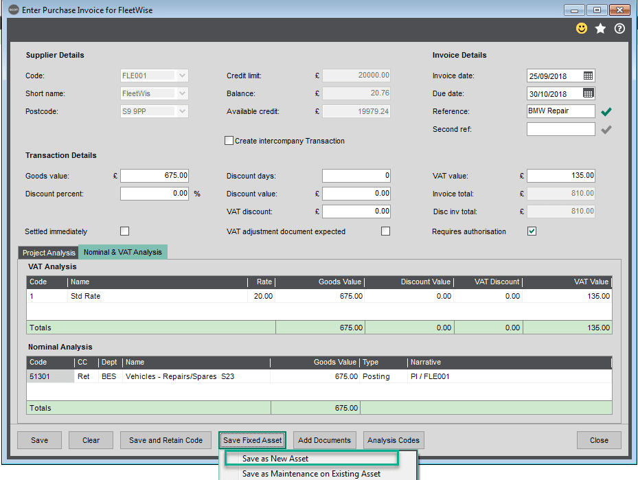 Sicon Fixed Assets Help and User Guide - Adding a New Asset whilst adding a purchase invoice within Sage 200 4