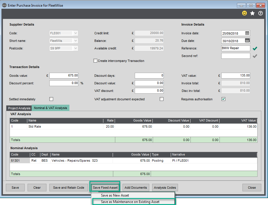 Sicon Fixed Assets Help and User Guide - Adding a New Asset whilst adding a purchase invoice within Sage 200 5
