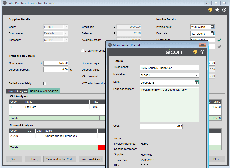 Sicon Fixed Assets Help and User Guide - Adding a New Asset whilst adding a purchase invoice within Sage 200 6