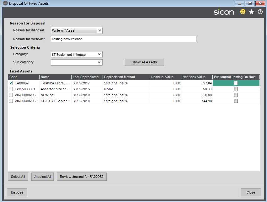 Sicon Fixed Assets Help and User Guide - Asset Disposal