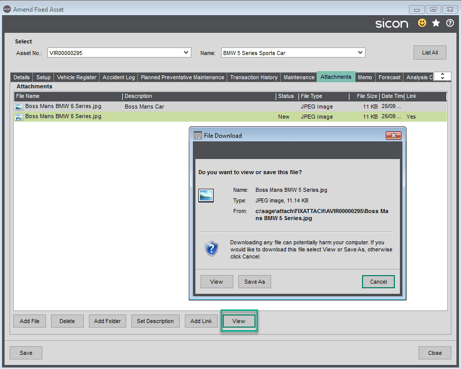 Sicon Fixed Assets Help and User Guide - Attachments Tab 2
