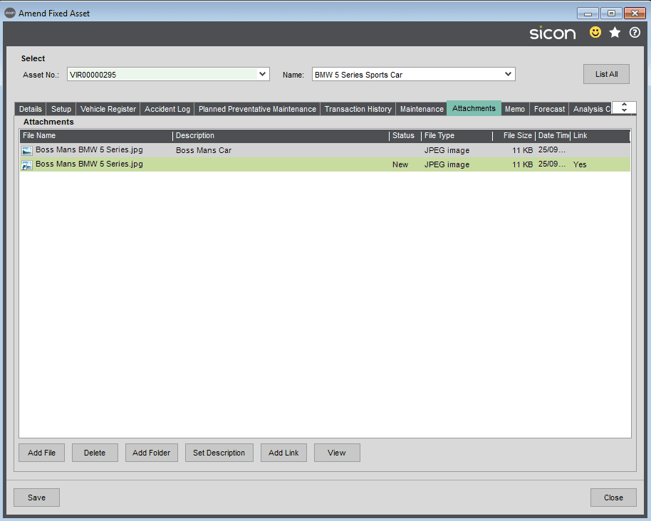 Sicon Fixed Assets Help and User Guide - Attachments Tab