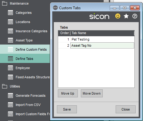 Sicon Fixed Assets Help and User Guide - Custom Tabs - Define Tabs