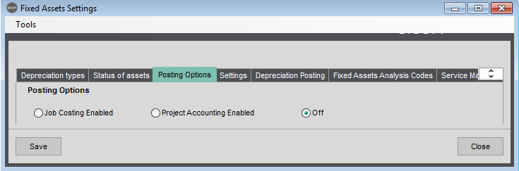 Sicon Fixed Assets Help and User Guide - Fixed Assets Settings - Posting Options