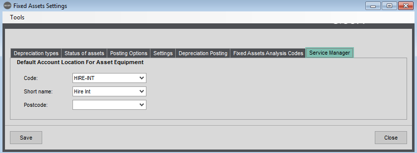 Sicon Fixed Assets Help and User Guide - Fixed Assets Settings - Service Manager Tab