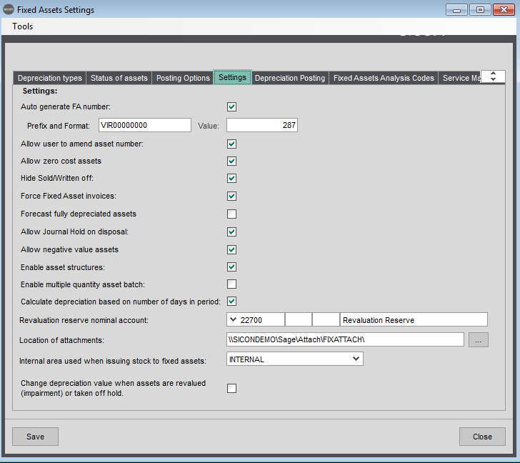 Sicon Fixed Assets Help and User Guide - Fixed Assets Settings - Settings tab