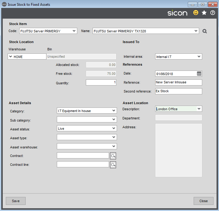 Sicon Fixed Assets Help and User Guide - Issue Stock to Fixed Assets 3