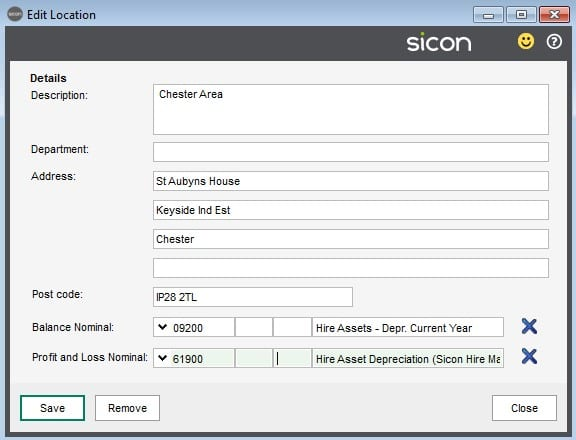 Sicon Fixed Assets Help and User Guide - Locations