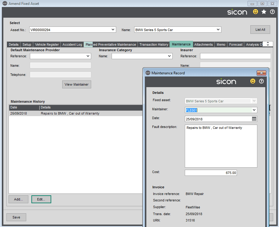 Sicon Fixed Assets Help and User Guide - Maintenance Tab
