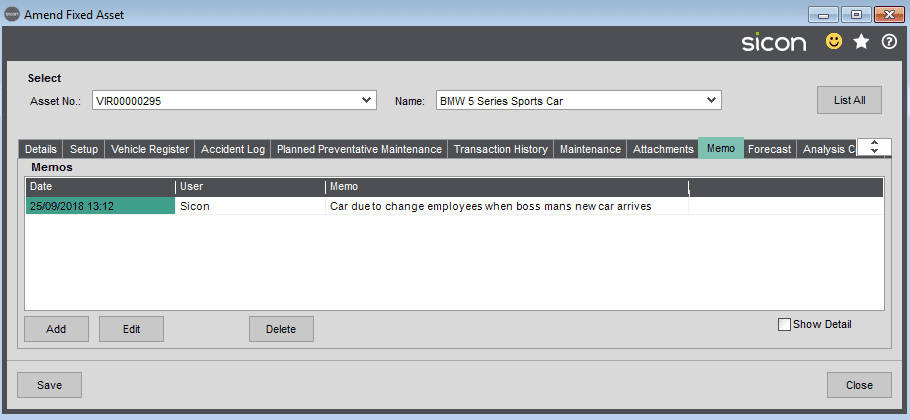 Sicon Fixed Assets Help and User Guide - Memo Tab