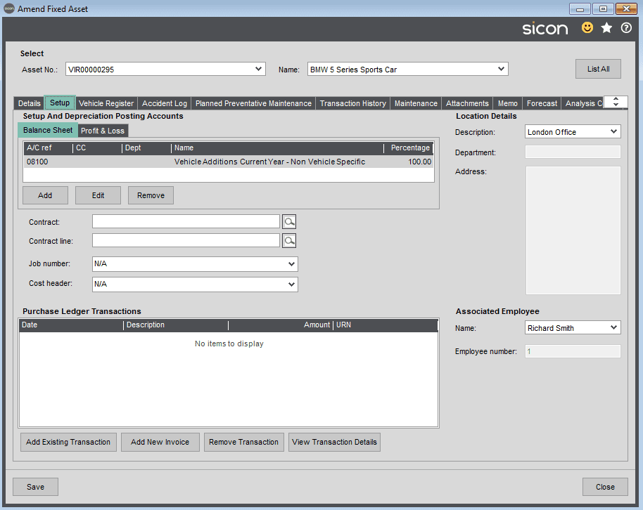 Sicon Fixed Assets Help and User Guide - Setup TAB