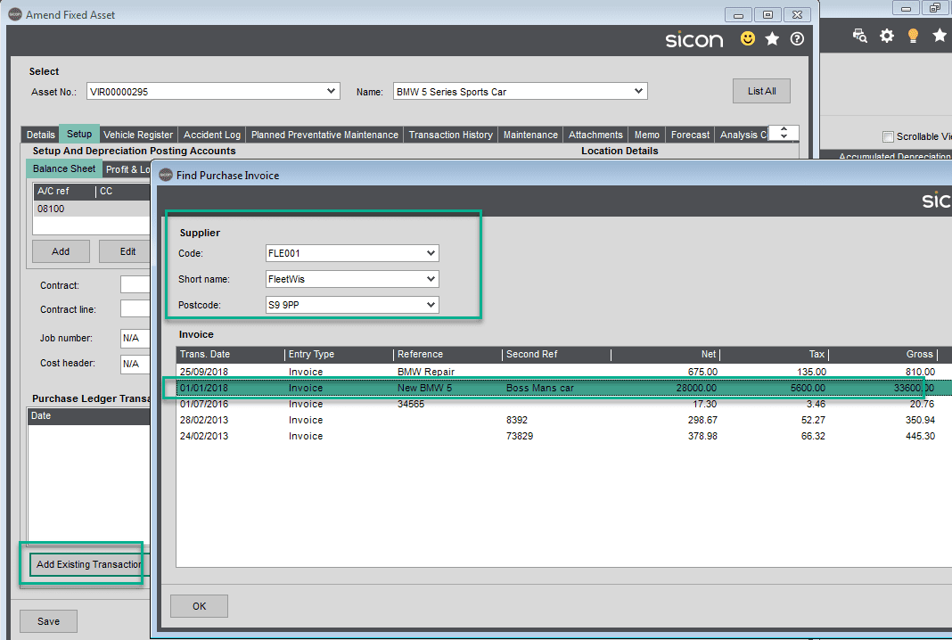 Sicon Fixed Assets Help and User Guide - Setup TAB2