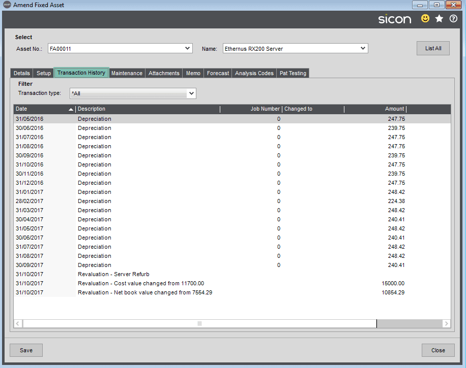 Sicon Fixed Assets Help and User Guide - Transaction History Tab