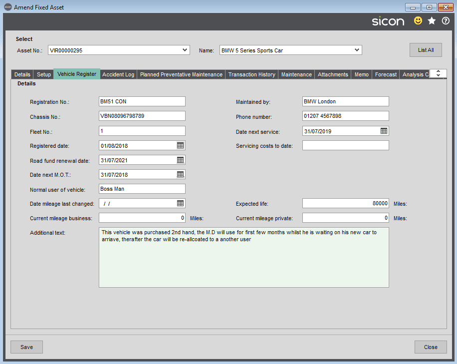 Sicon Fixed Assets Help and User Guide - Vehicle Register Tab