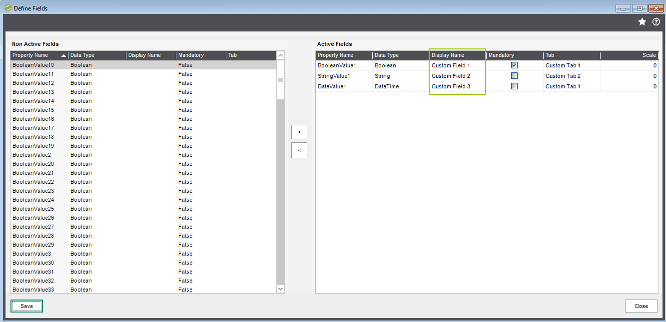 Sicon Fixed Assets - Maintenance - Define Fields