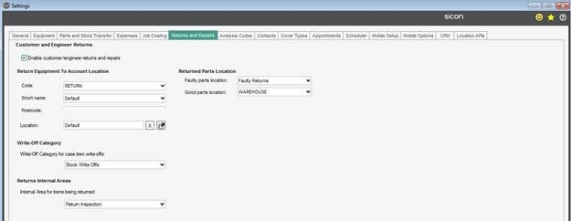 Sicon Service Help and User Guide - Returns & Repairs Tab