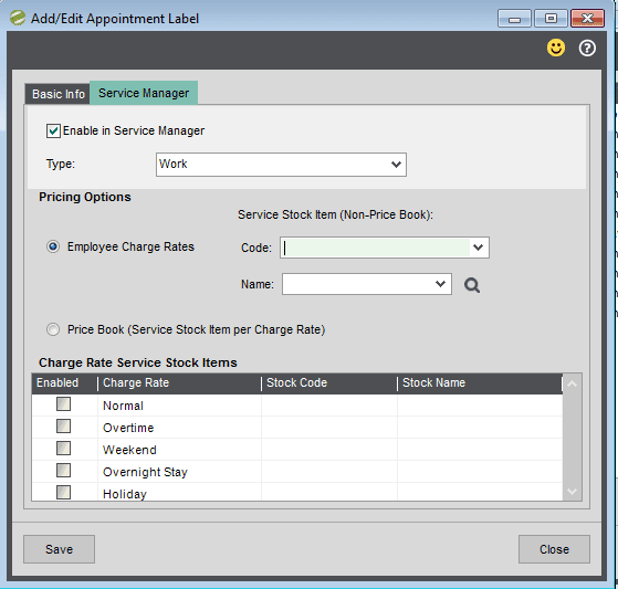 Sicon Service Manager Help and User Guide - Add - Edit Appointment Label Screen