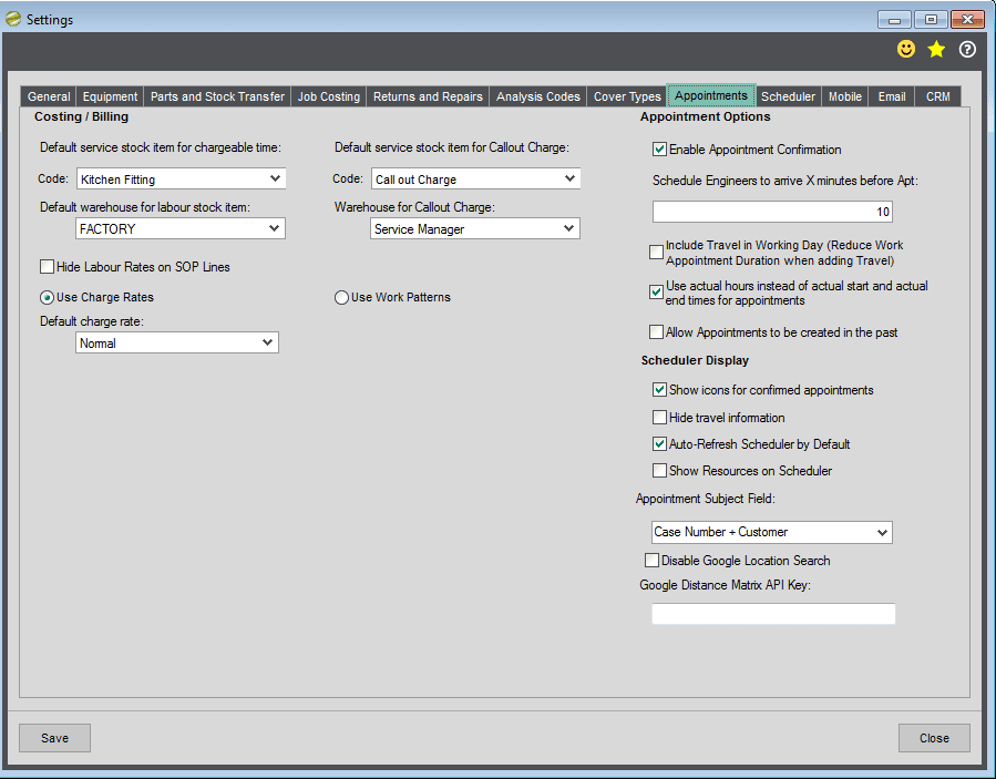 Sicon Service Manager Help and User Guide - Utilities - Appointments Tab