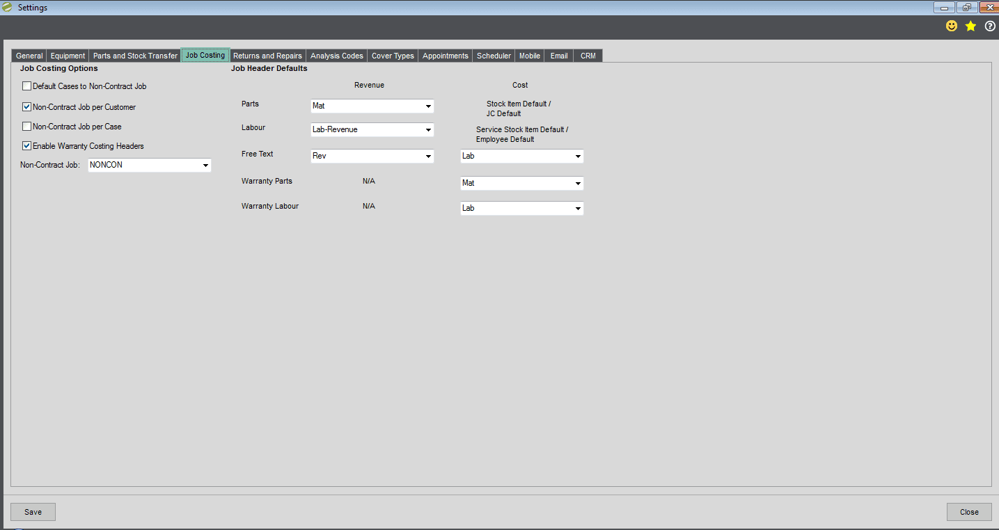 Sicon Service Manager Help and User Guide - Utilities - Job Costing tab